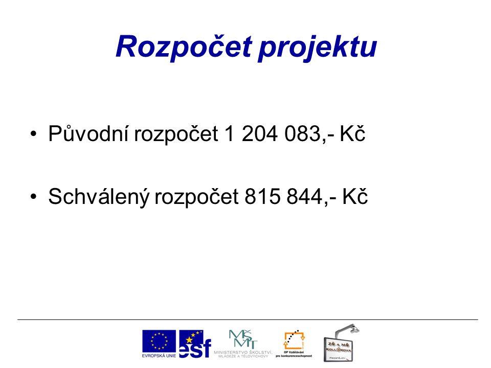 Rozpočet projektu Původní rozpočet 1 204 083,- Kč Schválený rozpočet 815 844,- Kč