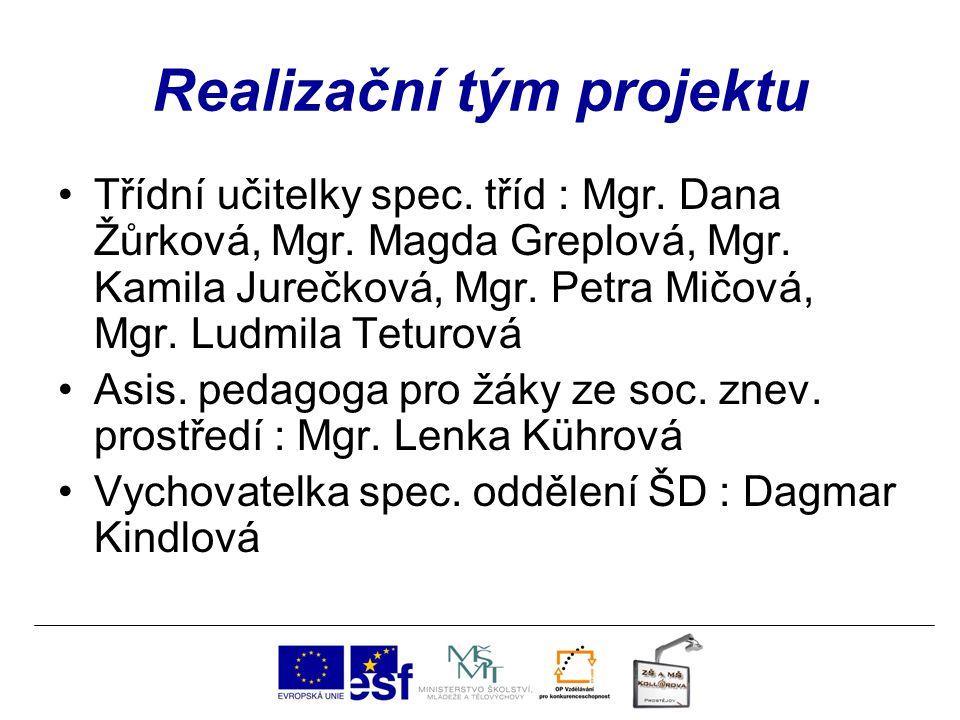Realizační tým projektu Třídní učitelky spec. tříd : Mgr. Dana Žůrková, Mgr. Magda Greplová, Mgr. Kamila Jurečková, Mgr. Petra Mičová, Mgr. Ludmila Te
