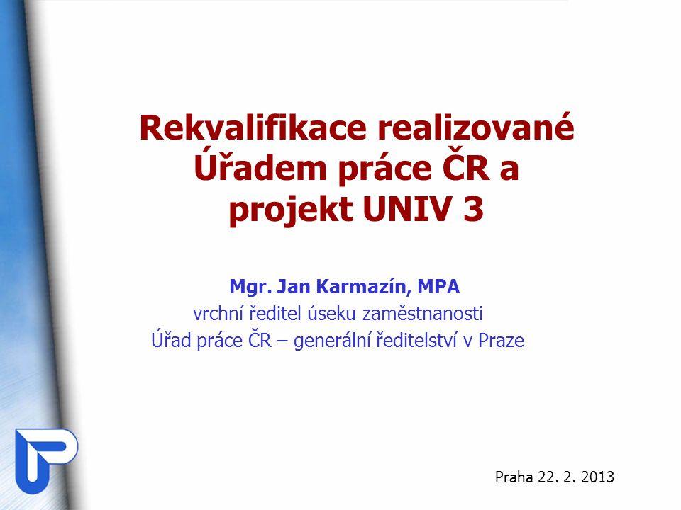 Rekvalifikace realizované Úřadem práce ČR a projekt UNIV 3 Mgr. Jan Karmazín, MPA vrchní ředitel úseku zaměstnanosti Úřad práce ČR – generální ředitel