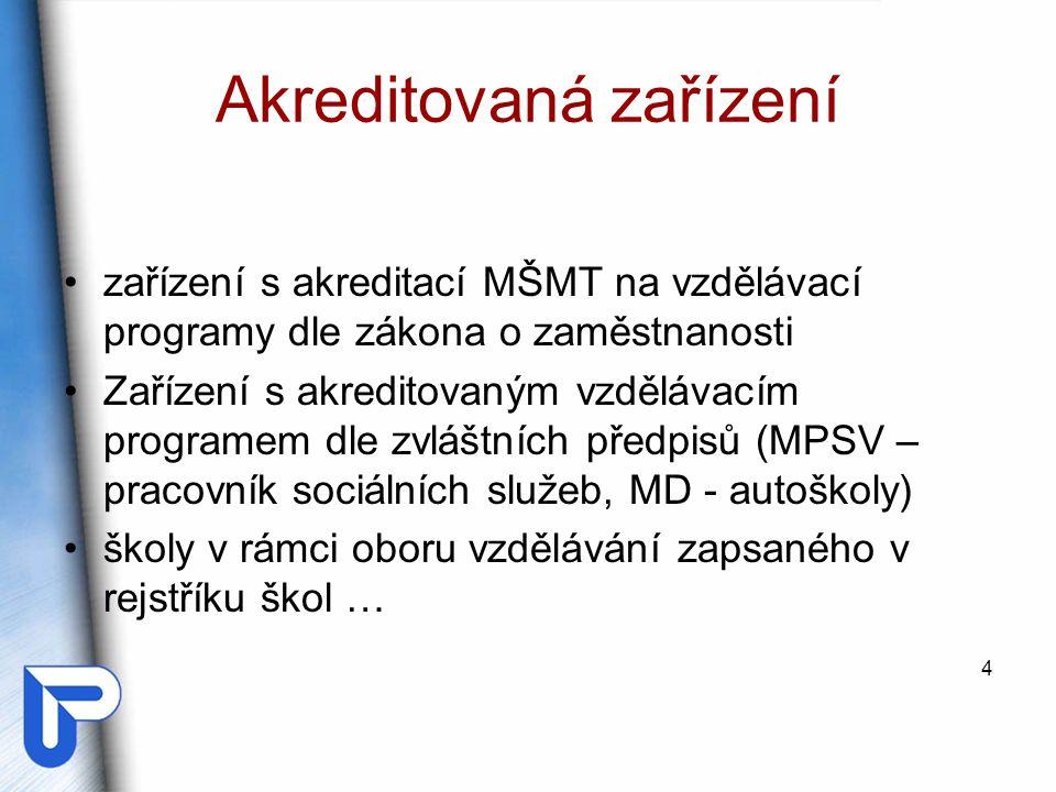 Akreditovaná zařízení zařízení s akreditací MŠMT na vzdělávací programy dle zákona o zaměstnanosti Zařízení s akreditovaným vzdělávacím programem dle