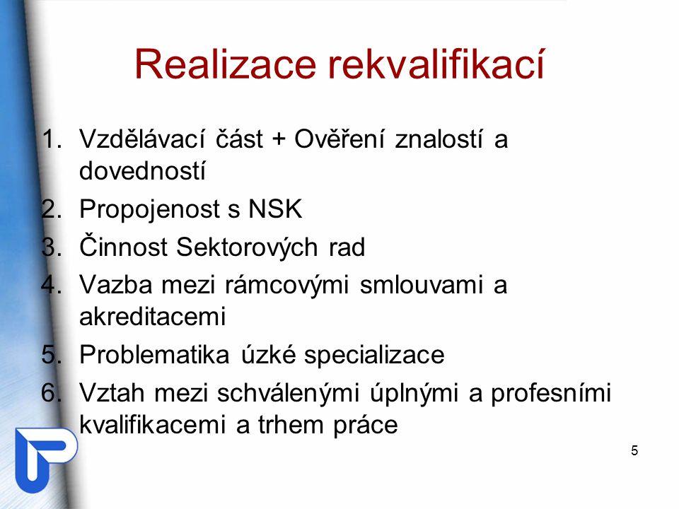 Realizace rekvalifikací 1.Vzdělávací část + Ověření znalostí a dovedností 2.Propojenost s NSK 3.Činnost Sektorových rad 4.Vazba mezi rámcovými smlouva