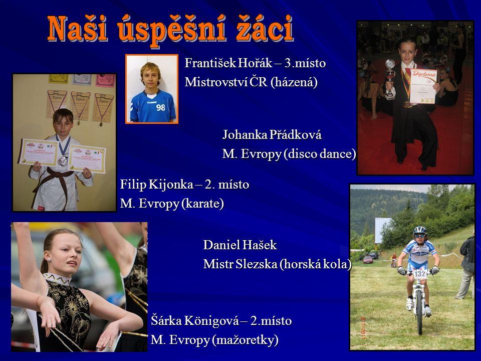 Šárka Königová – 2.místo M. Evropy (mažoretky) Filip Kijonka – 2. místo M. Evropy (karate) Johanka Přádková M. Evropy (disco dance) Daniel Hašek Mistr