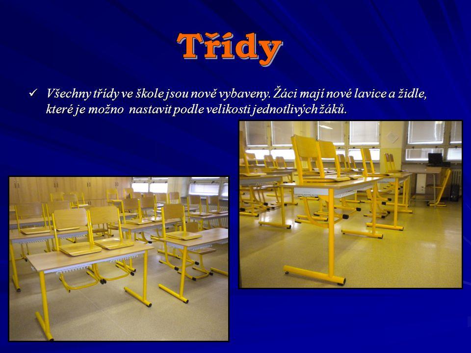 Všechny třídy ve škole jsou nově vybaveny. Žáci mají nové lavice a židle, které je možno nastavit podle velikosti jednotlivých žáků. Všechny třídy ve