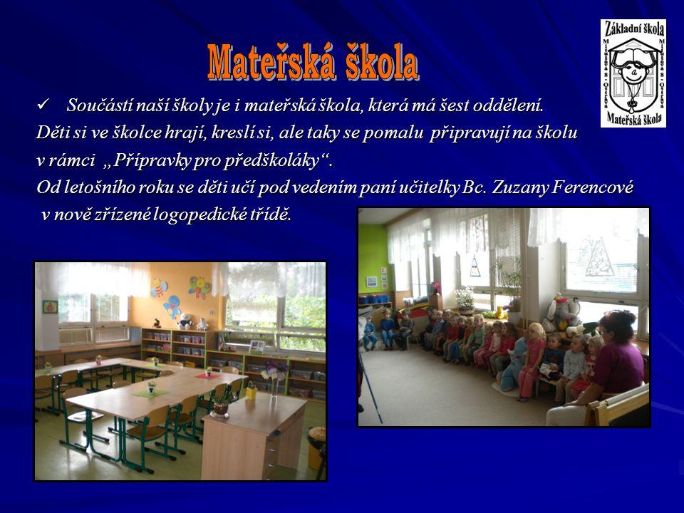 Součástí naší školy je i mateřská škola, která má šest oddělení. Součástí naší školy je i mateřská škola, která má šest oddělení. Děti si ve školce hr