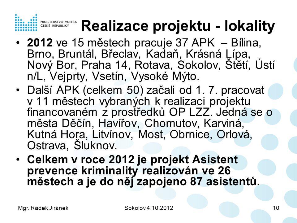 Mgr. Radek JiránekSokolov 4.10.201210 Realizace projektu - lokality 2012 ve 15 městech pracuje 37 APK – Bílina, Brno, Bruntál, Břeclav, Kadaň, Krásná