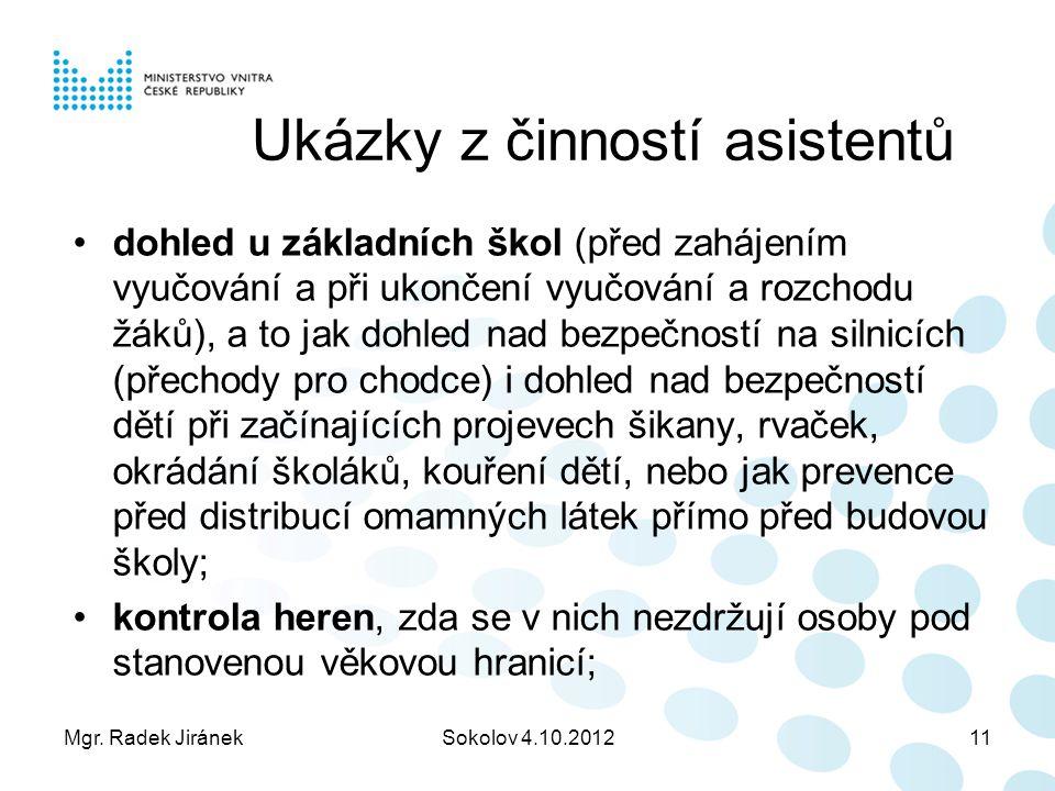 Mgr. Radek JiránekSokolov 4.10.201211 Ukázky z činností asistentů dohled u základních škol (před zahájením vyučování a při ukončení vyučování a rozcho