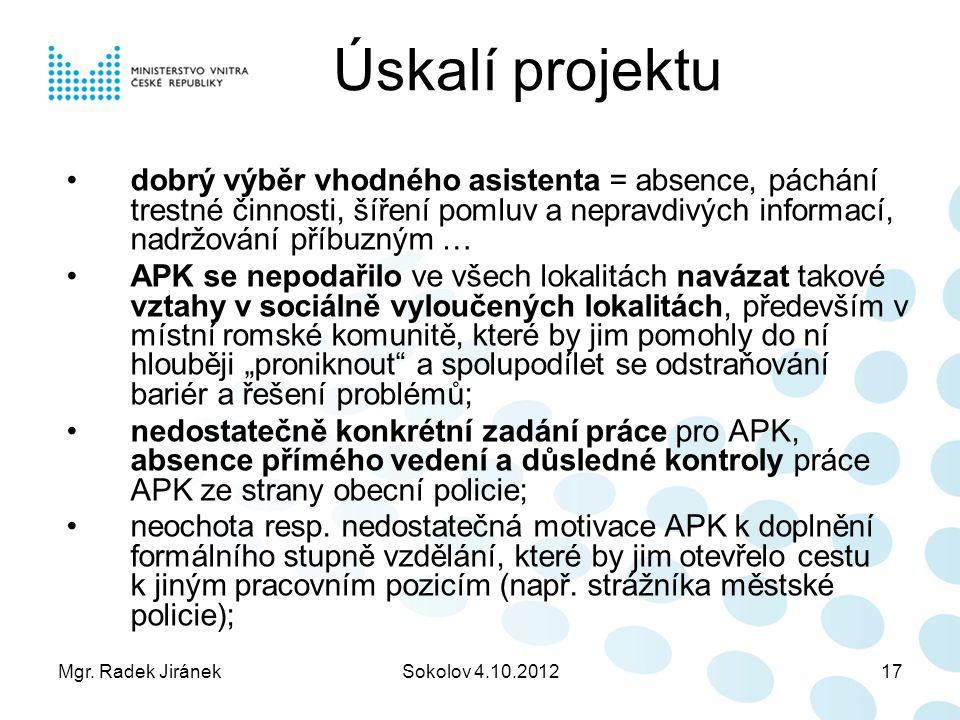 Mgr. Radek JiránekSokolov 4.10.201217 Úskalí projektu dobrý výběr vhodného asistenta = absence, páchání trestné činnosti, šíření pomluv a nepravdivých