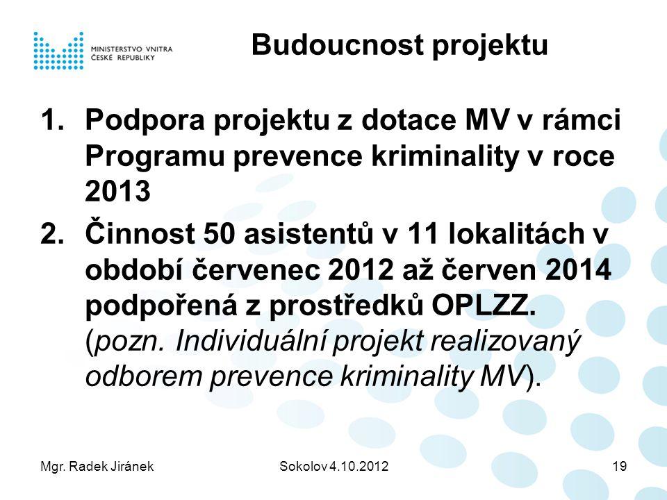 Mgr. Radek JiránekSokolov 4.10.201219 Budoucnost projektu 1.Podpora projektu z dotace MV v rámci Programu prevence kriminality v roce 2013 2.Činnost 5
