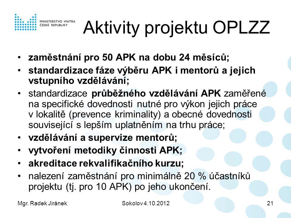 Mgr. Radek JiránekSokolov 4.10.201221 Aktivity projektu OPLZZ zaměstnání pro 50 APK na dobu 24 měsíců; standardizace fáze výběru APK i mentorů a jejic