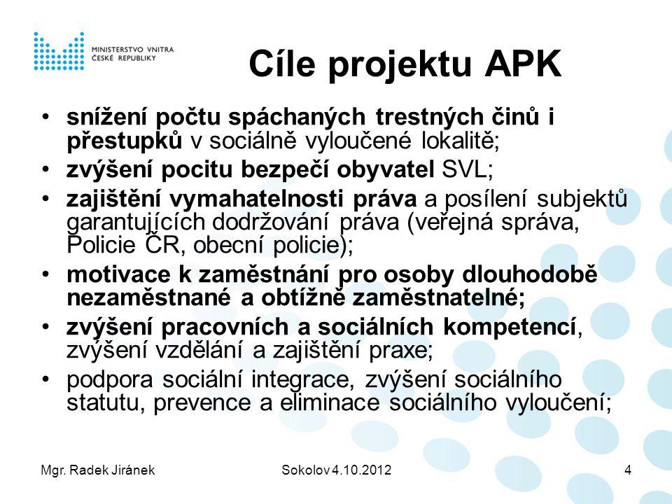 Mgr. Radek JiránekSokolov 4.10.20124 Cíle projektu APK snížení počtu spáchaných trestných činů i přestupků v sociálně vyloučené lokalitě; zvýšení poci