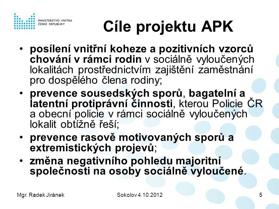 Mgr. Radek JiránekSokolov 4.10.20125 Cíle projektu APK posílení vnitřní koheze a pozitivních vzorců chování v rámci rodin v sociálně vyloučených lokal