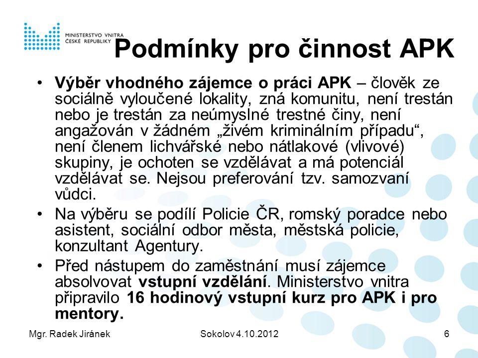 Mgr. Radek JiránekSokolov 4.10.20126 Podmínky pro činnost APK Výběr vhodného zájemce o práci APK – člověk ze sociálně vyloučené lokality, zná komunitu