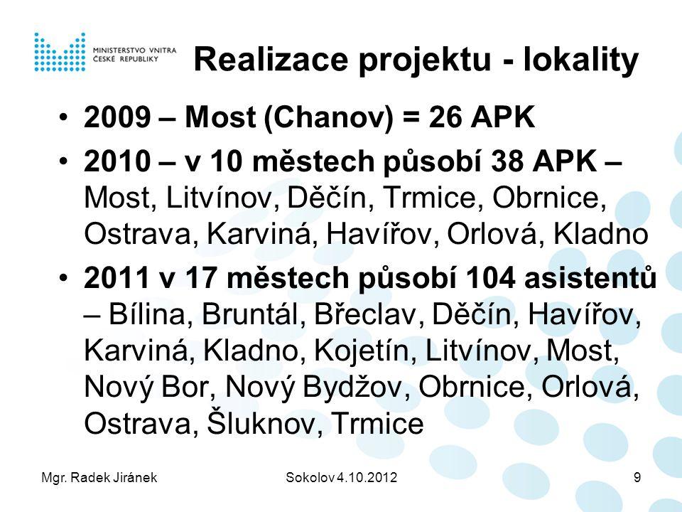 Mgr. Radek JiránekSokolov 4.10.20129 Realizace projektu - lokality 2009 – Most (Chanov) = 26 APK 2010 – v 10 městech působí 38 APK – Most, Litvínov, D