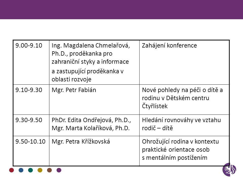 9.00-9.10Ing. Magdalena Chmelařová, Ph.D., proděkanka pro zahraniční styky a informace a zastupující proděkanka v oblasti rozvoje Zahájení konference