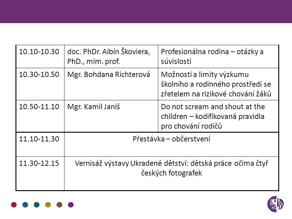 10.10-10.30doc. PhDr. Albín Škoviera, PhD., mim. prof. Profesionálna rodina – otázky a súvislosti 10.30-10.50Mgr. Bohdana RichterováMožnosti a limity