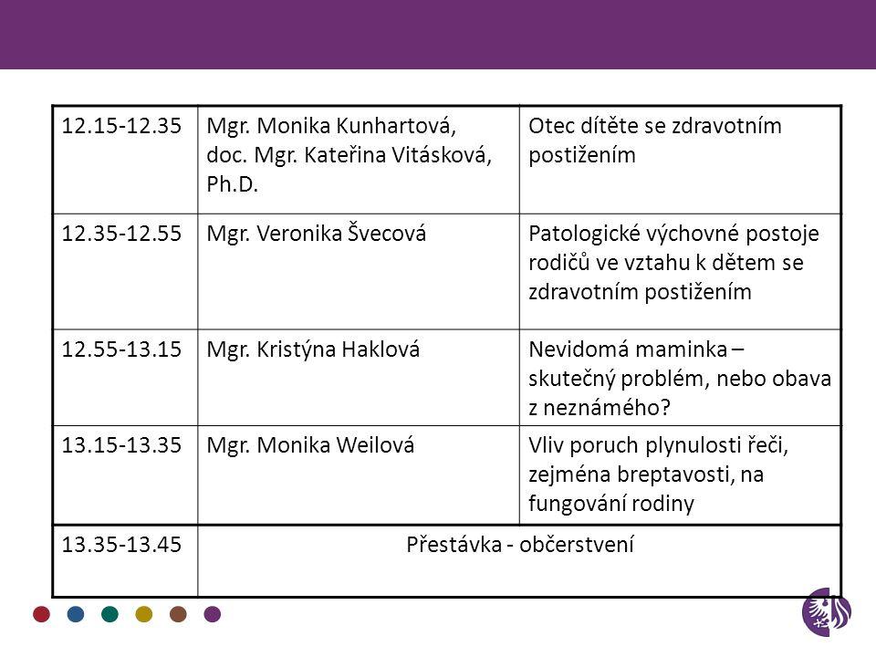 12.15-12.35Mgr. Monika Kunhartová, doc. Mgr. Kateřina Vitásková, Ph.D. Otec dítěte se zdravotním postižením 12.35-12.55Mgr. Veronika ŠvecováPatologick