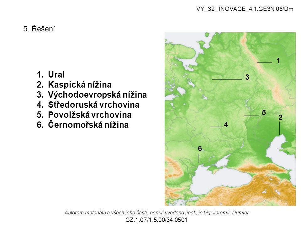 5. Řešení 1 2 3 4 5 6 1.Ural 2.Kaspická nížina 3.Východoevropská nížina 4.Středoruská vrchovina 5.Povolžská vrchovina 6.Černomořská nížina VY_32_ INOV