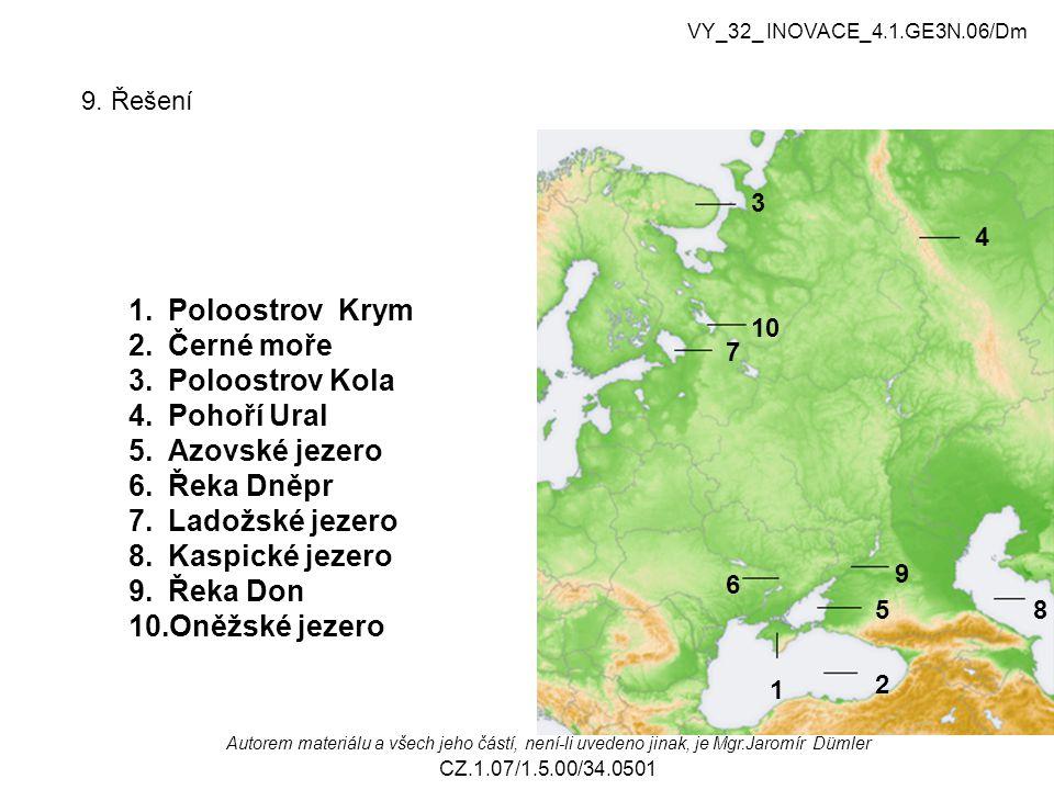 9. Řešení 1 2 3 4 85 6 7 9 10 1.Poloostrov Krym 2.Černé moře 3.Poloostrov Kola 4.Pohoří Ural 5.Azovské jezero 6.Řeka Dněpr 7.Ladožské jezero 8.Kaspick