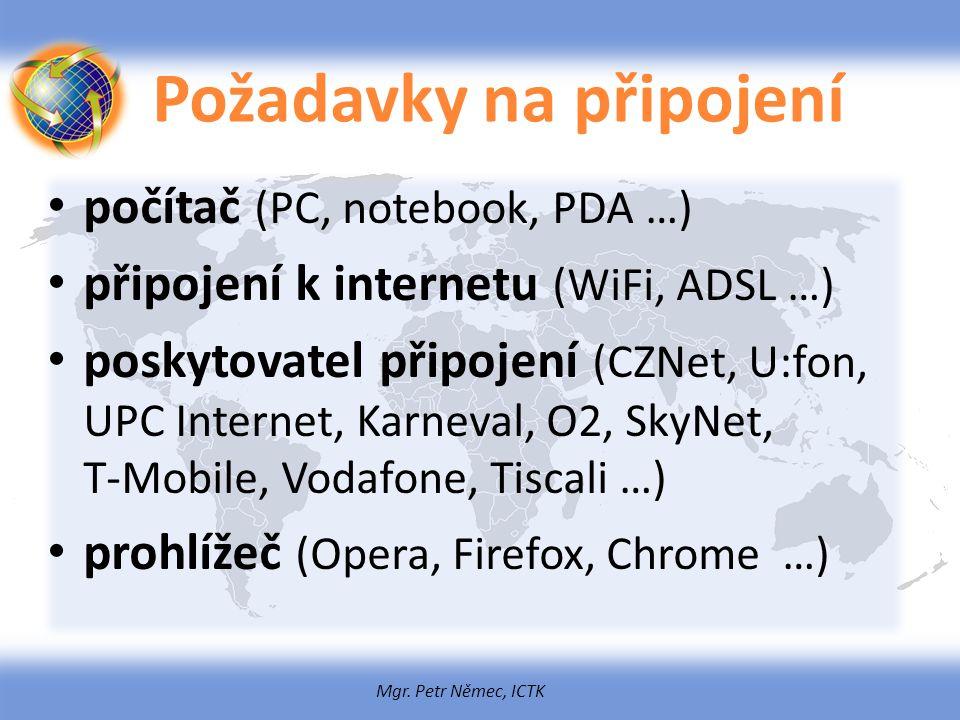 Mgr. Petr Němec, ICTK Požadavky na připojení počítač (PC, notebook, PDA …) připojení k internetu (WiFi, ADSL …) poskytovatel připojení (CZNet, U:fon,