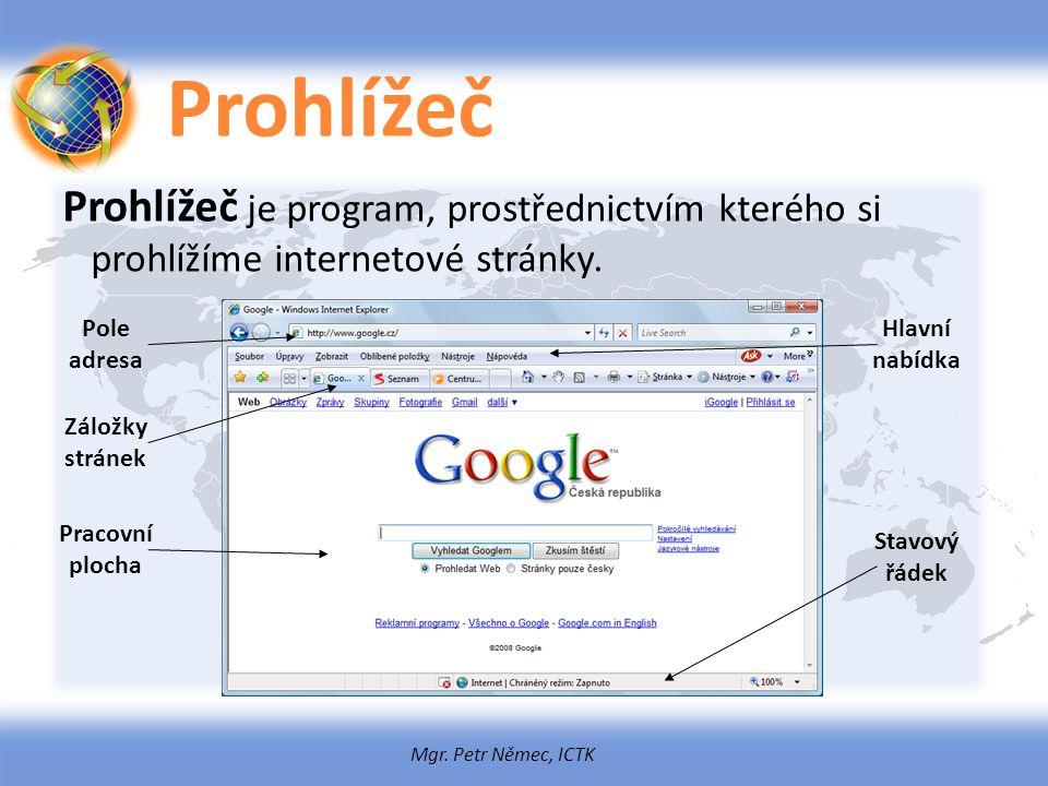 Mgr. Petr Němec, ICTK Prohlížeč Prohlížeč je program, prostřednictvím kterého si prohlížíme internetové stránky. Pole adresa Pracovní plocha Záložky s