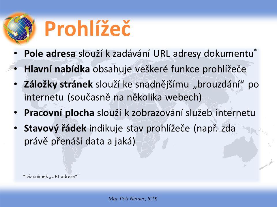 Mgr. Petr Němec, ICTK Prohlížeč Pole adresa slouží k zadávání URL adresy dokumentu * Hlavní nabídka obsahuje veškeré funkce prohlížeče Záložky stránek
