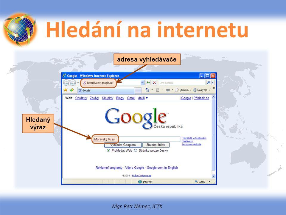 Mgr. Petr Němec, ICTK Hledání na internetu adresa vyhledávače Hledaný výraz
