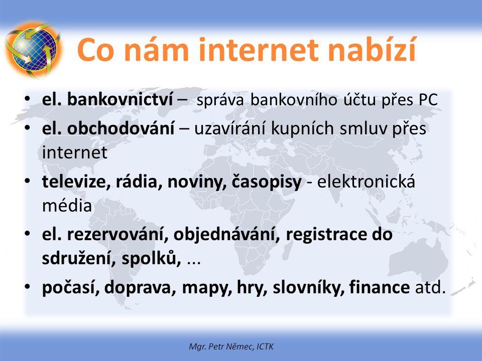 Mgr. Petr Němec, ICTK Co nám internet nabízí el. bankovnictví – správa bankovního účtu přes PC el. obchodování – uzavírání kupních smluv přes internet