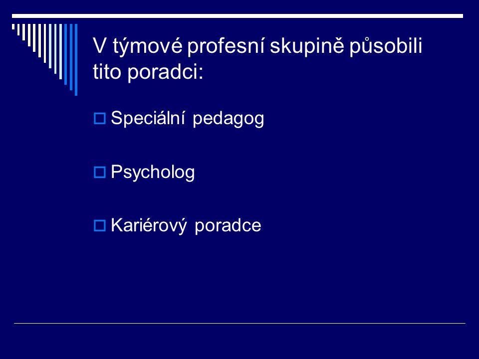 V týmové profesní skupině působili tito poradci:  Speciální pedagog  Psycholog  Kariérový poradce