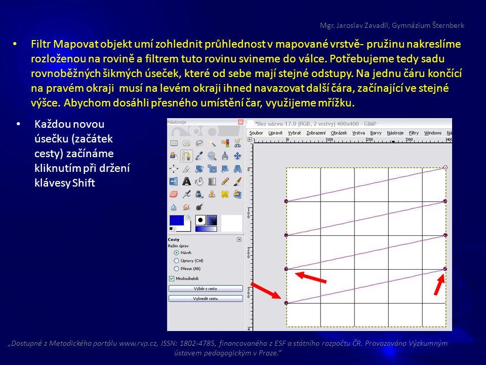 Filtr Mapovat objekt umí zohlednit průhlednost v mapované vrstvě- pružinu nakreslíme rozloženou na rovině a filtrem tuto rovinu svineme do válce.