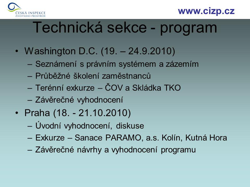 Technická sekce - program Washington D.C. (19.