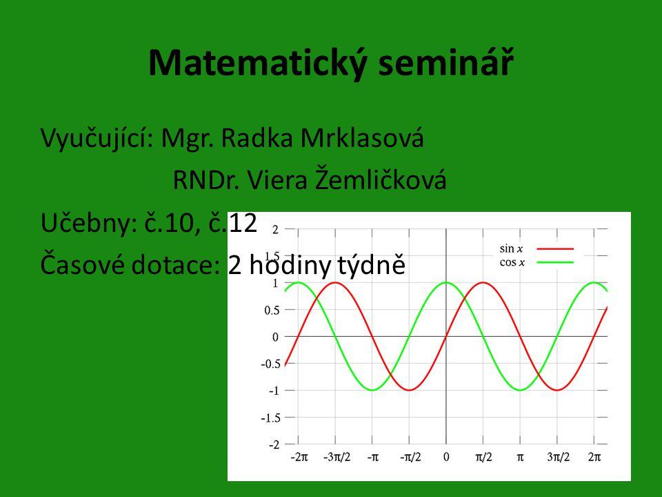 Matematický seminář Vyučující: Mgr.Radka Mrklasová RNDr.