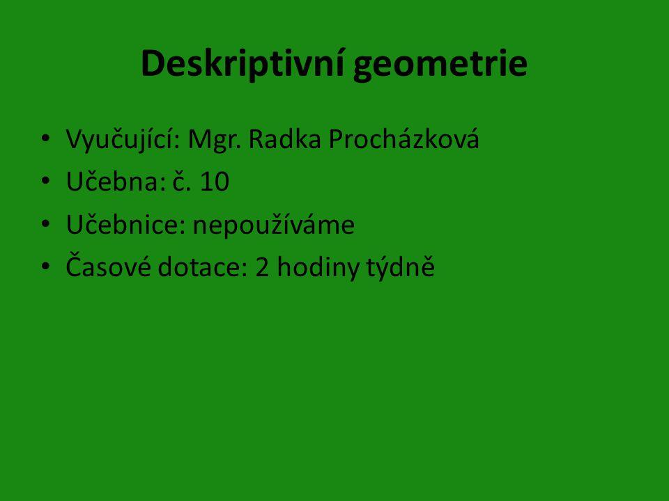 Deskriptivní geometrie Vyučující: Mgr.Radka Procházková Učebna: č.