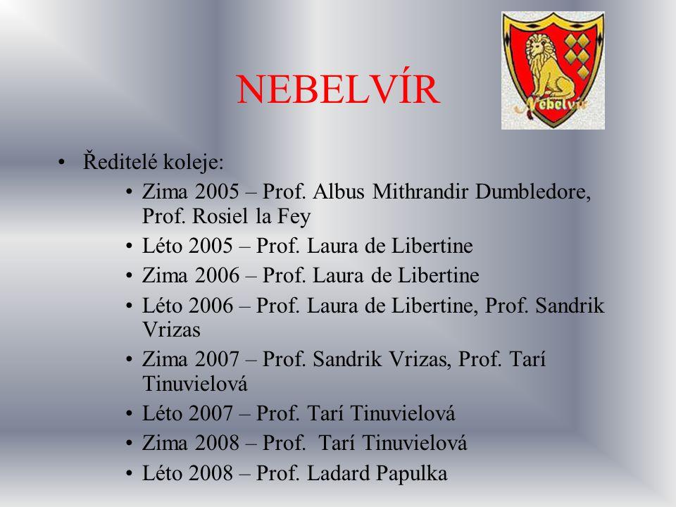 NEBELVÍR Ředitelé koleje: Zima 2005 – Prof. Albus Mithrandir Dumbledore, Prof. Rosiel la Fey Léto 2005 – Prof. Laura de Libertine Zima 2006 – Prof. La