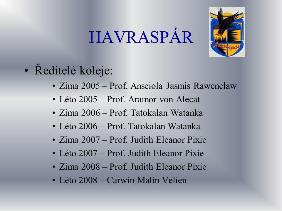 HAVRASPÁR Ředitelé koleje: Zima 2005 – Prof. Anseiola Jasmis Rawenclaw Léto 2005 – Prof. Aramor von Alecat Zima 2006 – Prof. Tatokalan Watanka Léto 20