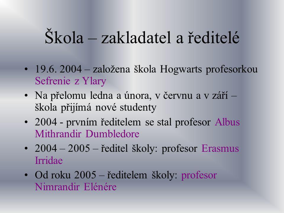 Škola – zakladatel a ředitelé 19.6. 2004 – založena škola Hogwarts profesorkou Sefrenie z Ylary Na přelomu ledna a února, v červnu a v září – škola př