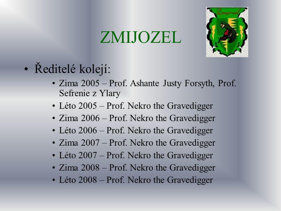 ZMIJOZEL Ředitelé kolejí: Zima 2005 – Prof. Ashante Justy Forsyth, Prof. Sefrenie z Ylary Léto 2005 – Prof. Nekro the Gravedigger Zima 2006 – Prof. Ne