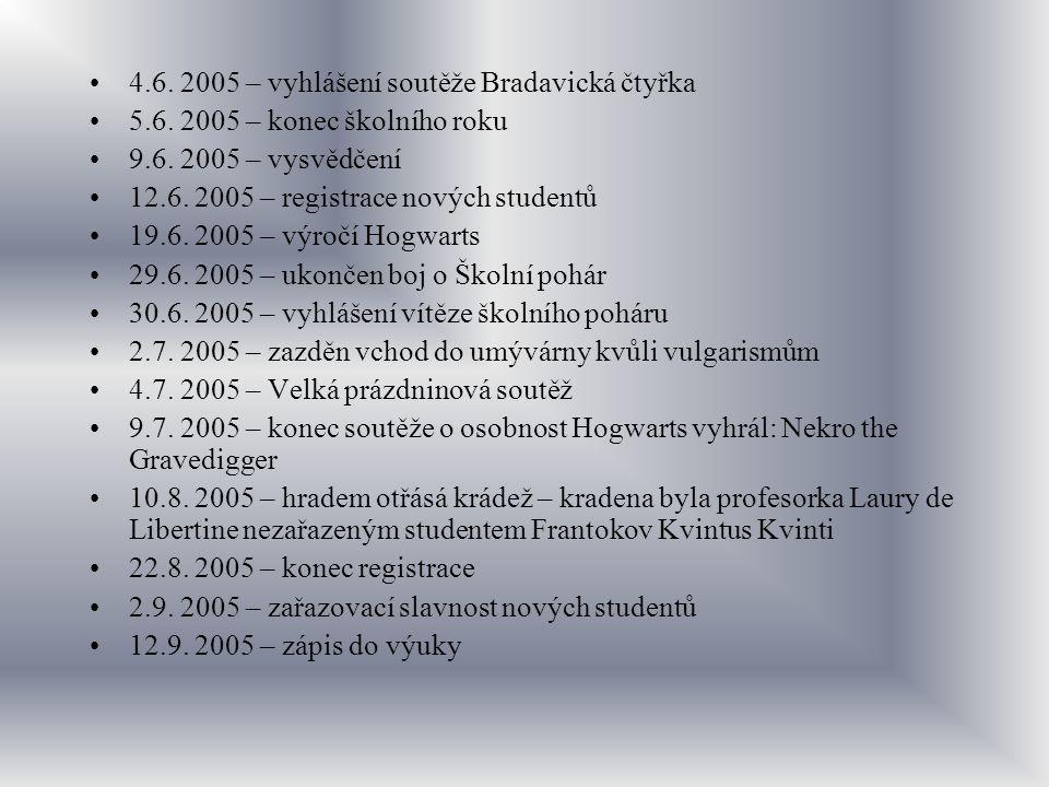 4.6. 2005 – vyhlášení soutěže Bradavická čtyřka 5.6. 2005 – konec školního roku 9.6. 2005 – vysvědčení 12.6. 2005 – registrace nových studentů 19.6. 2
