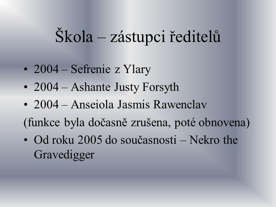 Škola – zástupci ředitelů 2004 – Sefrenie z Ylary 2004 – Ashante Justy Forsyth 2004 – Anseiola Jasmis Rawenclav (funkce byla dočasně zrušena, poté obn