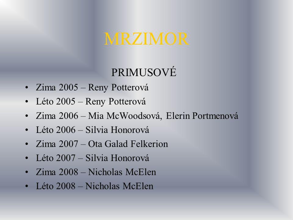 MRZIMOR PRIMUSOVÉ Zima 2005 – Reny Potterová Léto 2005 – Reny Potterová Zima 2006 – Mia McWoodsová, Elerin Portmenová Léto 2006 – Silvia Honorová Zima