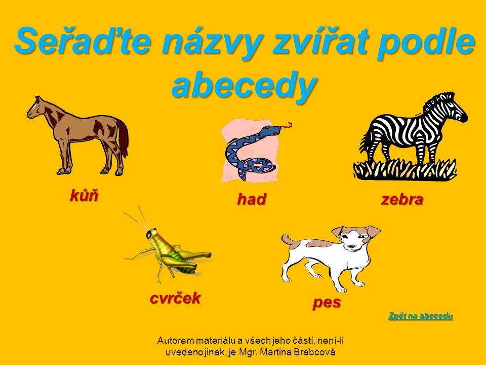 Seřaďte názvy zvířat podle abecedy Zpět na abecedu Zpět na abecedukůň zebrahad pes cvrček