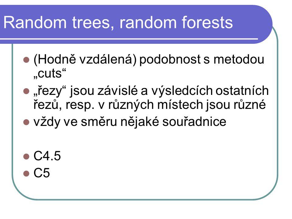 """Random trees, random forests (Hodně vzdálená) podobnost s metodou """"cuts """"řezy jsou závislé a výsledcích ostatních řezů, resp."""