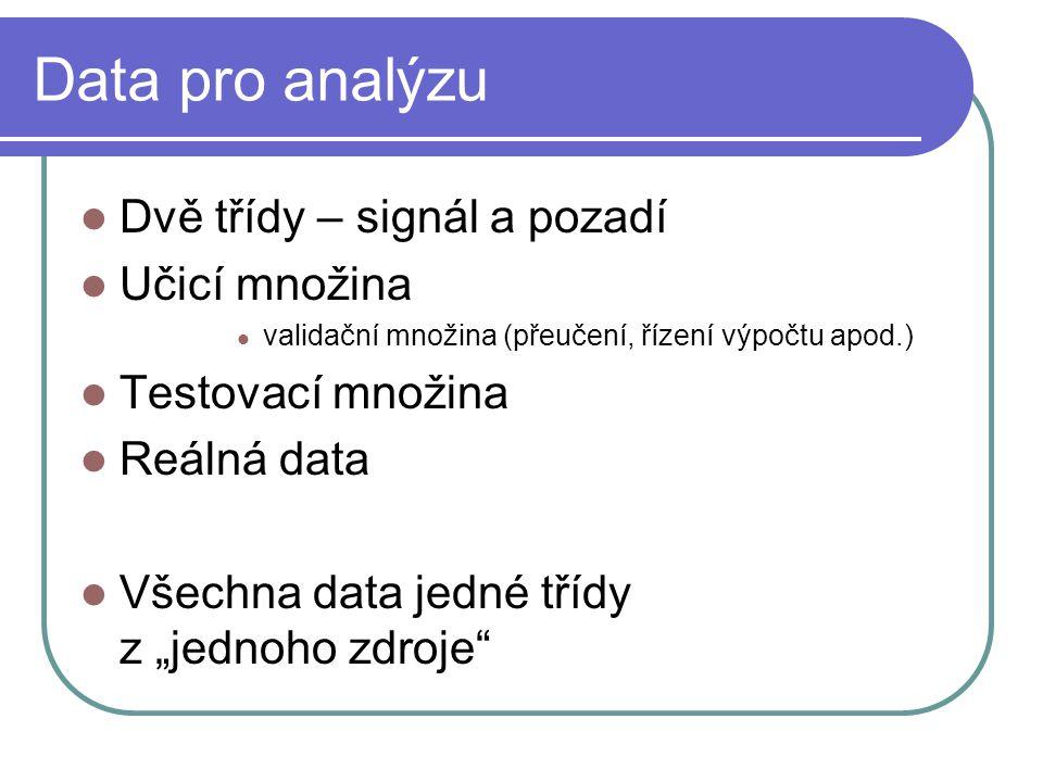 """Data pro analýzu Dvě třídy – signál a pozadí Učicí množina validační množina (přeučení, řízení výpočtu apod.) Testovací množina Reálná data Všechna data jedné třídy z """"jednoho zdroje"""