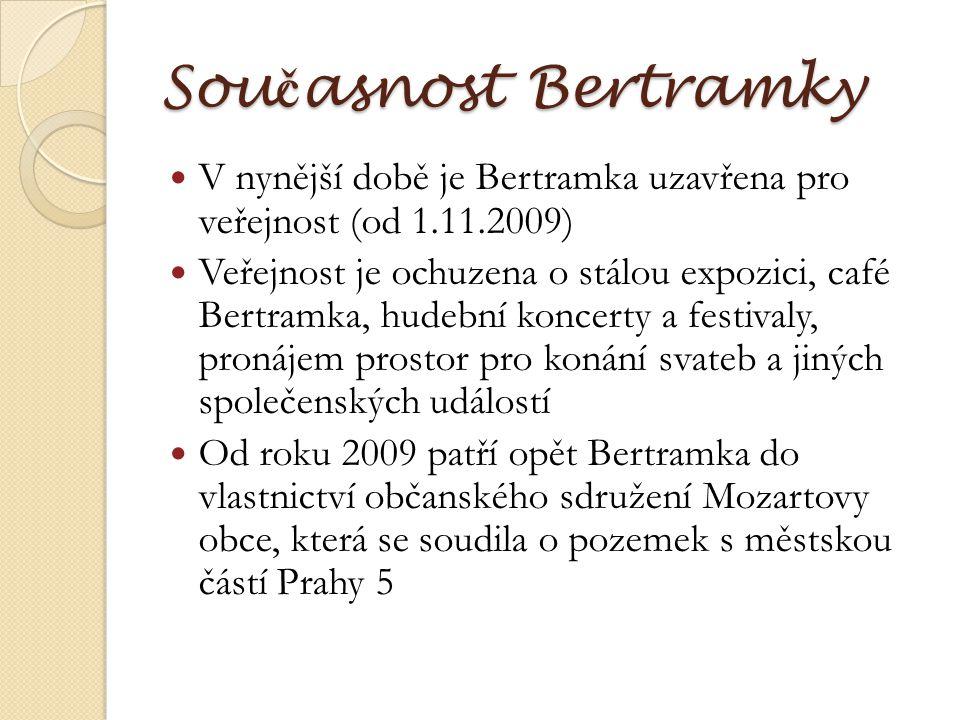 Sou č asnost Bertramky V nynější době je Bertramka uzavřena pro veřejnost (od 1.11.2009) Veřejnost je ochuzena o stálou expozici, café Bertramka, hude