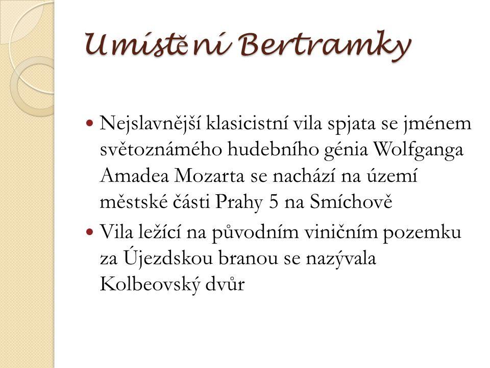 Umíst ě ní Bertramky Nejslavnější klasicistní vila spjata se jménem světoznámého hudebního génia Wolfganga Amadea Mozarta se nachází na území městské