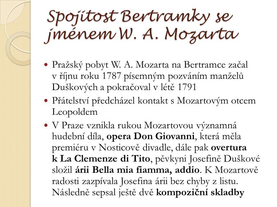 Interiér Bertramky Interiér vily je rozdělen do osmi místností Vstupní síň vítala návštěvníky Mozartovou tváří od sochaře E.