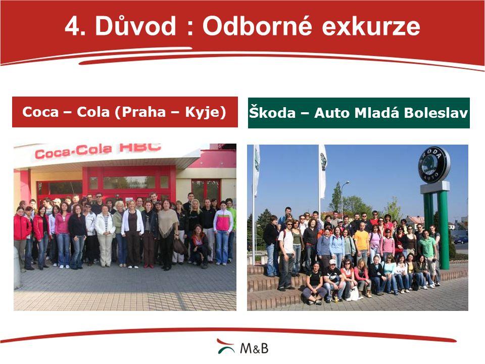 4. Důvod : Odborné exkurze Coca – Cola (Praha – Kyje) Škoda – Auto Mladá Boleslav