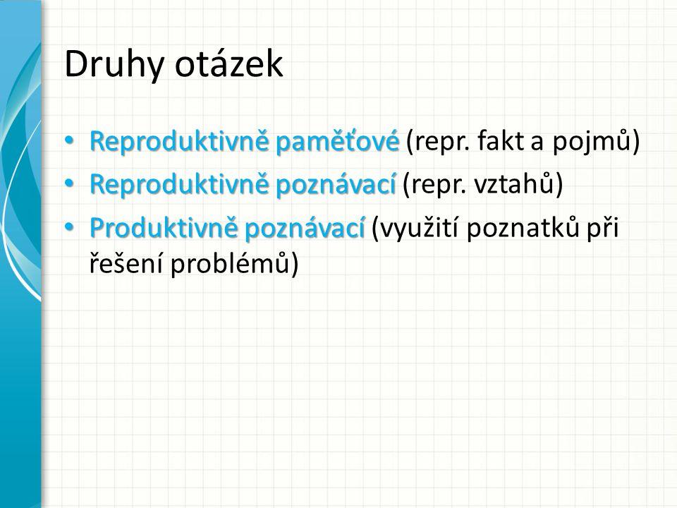 Druhy otázek Reproduktivně paměťové Reproduktivně paměťové (repr.