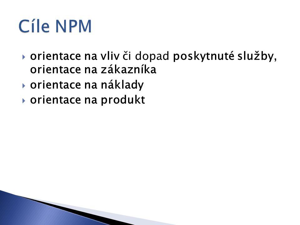 orientace na vliv či dopad poskytnuté služby, orientace na zákazníka  orientace na náklady  orientace na produkt