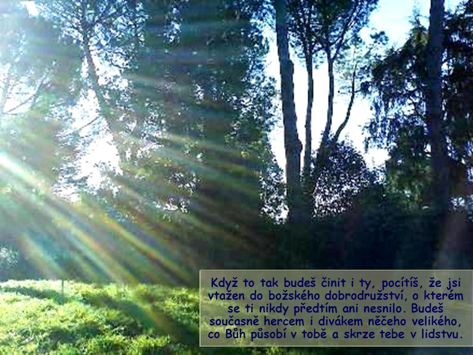 Křesťan - nebo člověk dobré vůle - je v životě povolán, aby kráčel ke slunci ve světle vlastního paprsku, jiného a odlišného od všech ostatních.