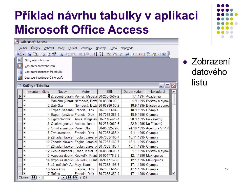 12 Příklad návrhu tabulky v aplikaci Microsoft Office Access Zobrazení datového listu